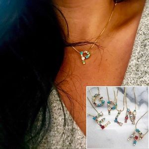 Multi-Colored Initial Necklaces,NWT